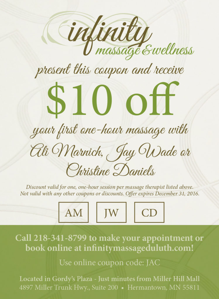 Infinity Massage new therapist coupon